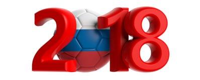 与俄罗斯旗子足球橄榄球球的新年2018年在白色背景 3d例证 免版税库存照片