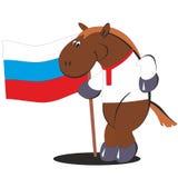 与俄罗斯012的旗子的动画片马 免版税库存照片