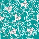 与俏丽的花和弓的无缝的样式在蓝色 库存照片