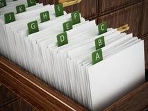 与信件的图书馆目录木抽屉 3d例证 皇族释放例证