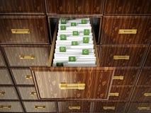 与信件的图书馆目录木抽屉 3d例证 库存例证