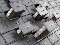 与信件的图书馆目录木抽屉 3d例证 向量例证