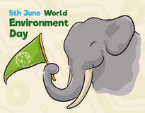 与信号旗在水彩样式,传染媒介例证的纪念的世界环境日的大象 库存例证