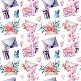 与信封和礼物盒的水彩生日装饰大无缝的样式 手画气球,花花束  库存图片