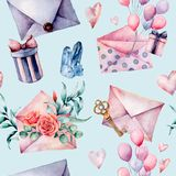 与信封和礼物盒的水彩生日装饰无缝的样式 手画气球,花花束  图库摄影
