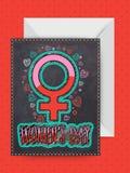 与信封的贺卡为妇女的天 图库摄影