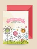 与信封的贺卡国际妇女节的 库存照片