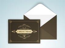 与信封的贺卡圣诞节和新年 向量例证