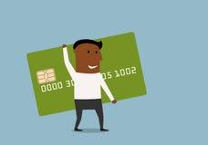去与信用卡的商人在手上 免版税库存图片