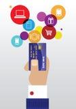 与信用卡的薪水 库存照片