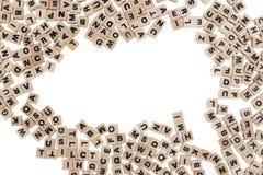 与信件和拷贝空间的木立方体 免版税库存图片