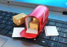 与信件和纸板箱的邮箱 库存例证