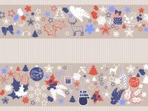 与假日元素的圣诞节装饰品 免版税库存照片