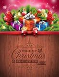 与假日元素的被刻记的圣诞快乐和新年快乐印刷设计在木纹理背景 库存照片