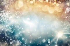 与假日光和拷贝空间的抽象圣诞节背景 免版税库存图片