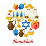 与假日对象的犹太光明节庆祝卡片