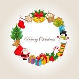 与假日属性的圣诞快乐概念 向量例证