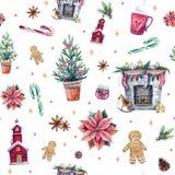 与假日属性的圣诞节无缝的样式 皇族释放例证