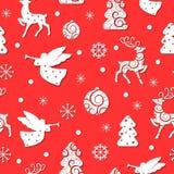 与假日标志的圣诞节无缝的样式 皇族释放例证