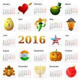 与假日标志的年2016日历 免版税库存图片