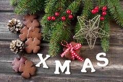 与假日装饰的圣诞节姜饼 库存图片