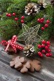 与假日装饰的圣诞节姜饼 免版税库存照片