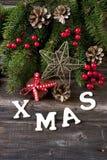 与假日装饰的圣诞节构成 库存照片