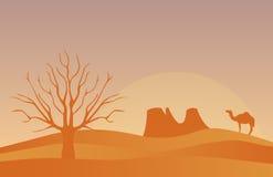 与偏僻的沙漠传染媒介例证的水平的横幅 免版税库存照片