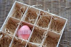 与做的复活节彩蛋由我题字 库存照片