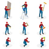 与做维护,工业承包商工作者人民的家庭修理工作者的等量集合 查出在白色 库存例证