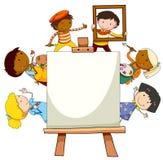 与做艺术品的孩子的框架设计 库存例证