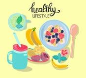 与健康早餐的手拉的例证 库存照片