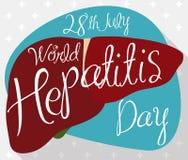 与健康肝脏的海报有世界肝炎天,传染媒介例证提示的  库存例证