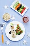 与健康kid& x27的圣诞节午餐; s食物 库存照片