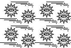 与催眠状态眼睛的无缝的样式 抽象背景向量 Psyphodelic黑白色样式 免版税库存图片