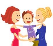 与儿子的年轻女同性恋的夫妇家庭 免版税库存照片