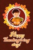 与儿童叶子和祝贺字法的愉快的感恩天卡片 传染媒介例证家庭假日 大的男孩 免版税库存图片