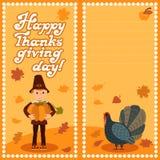 与儿童叶子和祝贺字法的愉快的感恩天卡片 传染媒介例证家庭假日 男孩 图库摄影