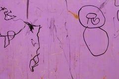 与儿童的图画的生锈的金属纹理 库存图片