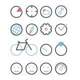 与元素-圈子的象 图、视域、云彩和太阳,音乐,地球,指南针,嵌齿轮,壁虱,自行车,手表,与精采的圆环, em 库存图片