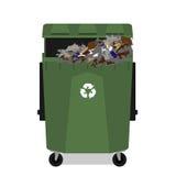 与充分回收标志的被转动的垃圾箱 库存照片