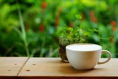 与充分的白色泡沫的热的拿铁咖啡与在木桌上的杯子有绿色热带区域庭院背景 图库摄影