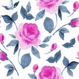与充满活力的花的花卉无缝的样式 库存例证