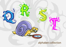 与先生的字母表 蜗牛 也corel凹道例证向量 图库摄影