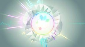 与光亮的光、声波几何形状能量和闪耀的元素的抽象行动音乐调平器背景接口 库存例证