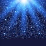 与光亮的光和微粒的蓝色模板 免版税库存照片