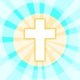 与光亮的光芒的十字架 向量例证