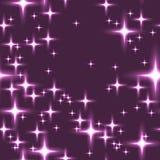 与光亮的星的桃红色无缝的背景 库存图片