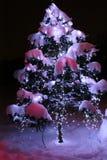 与光亮的诗歌选的圣诞树在雪下 作为标志新年快乐,圣诞快乐Christoff著名人士的绿色圣诞树 库存照片
