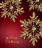 与光亮的金雪花的光亮的圣诞节背景 圣诞快乐看板卡 向量 库存例证